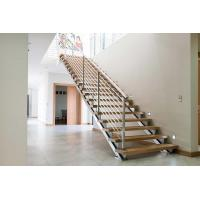 China Stainless Steel Modern Straight Staircase , Solid Wood Staircase Double Square Stringer on sale