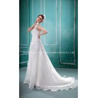 China Senior Custom 2012 White One Shoulder a-Line Flowers Tulle Satin Wedding Dress Bridal Gown on sale