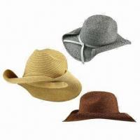 China Paper and Polyester Straw Cowboy Hat, Rolled-up Brim, Various Colors are Available, for Women on sale