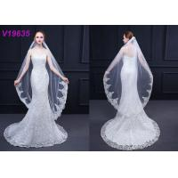 China Modern Bridal Wedding Gown Accessories Veils 3 M With Hair Comb Sequins Technics on sale