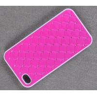 Wholesale Glitter Rhinestone PU Paster Plastic cell phone cover for iPhone 4G/4S from china suppliers