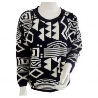 Dropped shoulder Aztec jacquard Ladies pullover sweaters Black base with white