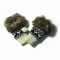 Wholesale Acrylic Jacquard Knitted Half Finger Gloves, Fake Fur at Cuff, Fleece Lining from china suppliers
