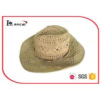 Wholesale Wooden Decorative Band Wide Brim Straw Cowboy Hats ,  Straw Floppy Hat from china suppliers