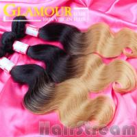 Buy cheap Two Color human Brazilian ombre hair weave dark blonde real Brazilian hair from wholesalers