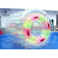 Wholesale 3.0m long transparent double layers inflatable water roller ball with tubes on entrance from china suppliers