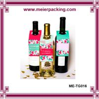 China Paper wine glass tag wine bottle hang tags cut hole foldable cardboard with custom printing on sale
