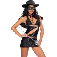 Wholesale Hero Costumes Wholesale Black Sapndex PVC Masked Bandita Costume with size S to XXL from china suppliers
