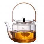 China Handmade 1000ml Clear Glass Teapot Borosilicate Material Eco Friendly for sale