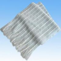 Wholesale 100 Percent Acrylic Knitted White Scarf with Ribs from china suppliers