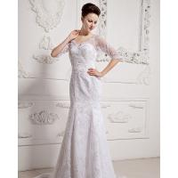 Wholesale Girls Long Sleeve Big V Neck Wedding Dresses Appliques with cathedral train from china suppliers