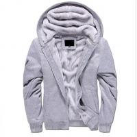 China OEM Zipper Mens Pullover Sweater Long Sleeve Winter Men Fur Hoodie 100% Cotton for sale