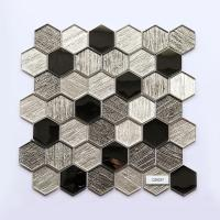Hexagon Mosaic Glass Mosaic Tiles Metal Element Modern Kitchen Splashback Tiles for sale