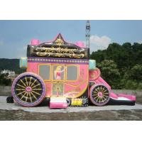 China Kids Party Princess Carriage Bounce House With Slide , Made Of 1st Class PVC Tarpaulin for sale