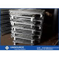 Wholesale Zinc Coated Collapsible Pallet Cages , Stackable Metal Wire Cage With Wheels from china suppliers