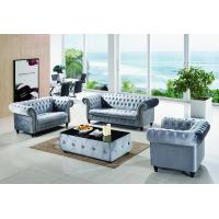 Purple Color Modular Chesterfield Set Wooden Leather 1+2+3 Sofa