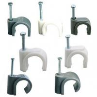 Wholesale Square Shaped Plastic Cable Clips , Plastic Electrical Wire Clamp White / Black Color from china suppliers