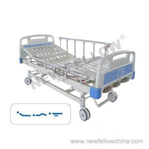 China Manual Three Crank Medical Hospital Bed with Foldaway Aluminum Alloy Guardrail , Center Control Brake on sale