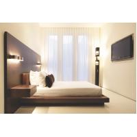 Wholesale Hotel Furniture Wood panel cleats to wall Headboard with attached Upholstered headboard and two floating nightstands from china suppliers