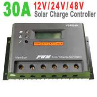 Gray Color IP30 32 bit MCU  PWM Solar Charge Controller 12V / 24V / 48V auto , 30A for sale