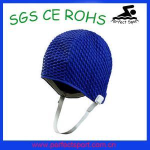 China Bubble swim cap rubber swim cap bright color silicone swimming cap on sale