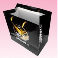 custom recycled paper shopping bags with gold hot stamping logo manufacturer for sale