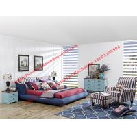 Wholesale Blue and white strip Upholstered furniture bedding ship type headboard with pillow and fabric surronding bedstead from china suppliers