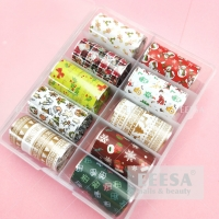 Wholesale 10 Roll Box Snowman Gift Bags Garland Christmas Tree Nail Transfer Foil Stickers from china suppliers