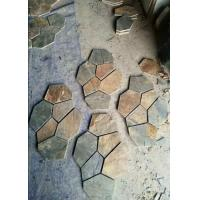 China Natural slate culture stone sawn cut split China beige green color for sale