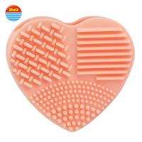 Wholesale Super Ability Household Pink Orange Scrubber Rubber Silicone Heart Brush Mat  Make up Rotating Cleaner for cleaning from china suppliers