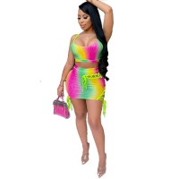 Wholesale Clothing Fashion Printing Color Clothes Bandage Short Skirt Wrapped Chest Two-Piece Suit sexy party dresses women  skirt from china suppliers