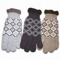 Wholesale Men's Knitted Gloves, Made of 100% Acrylic, Various Colors are Available from china suppliers