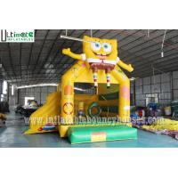Wholesale 3 in 1 Kids SpongeBob Inflatable Jumping Castles With Pillar N Hoop Lead Free Material from china suppliers