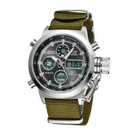 Best Mens Sport Style Stainless Steel Watches , Dual Time Digital Watch With Nylon Strap wholesale