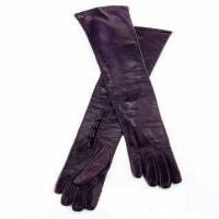 Quality long style fashion leather gloves for lady for sale