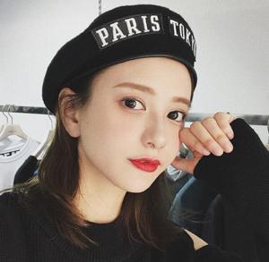 China Women's Autumn Winter Wool Bunny Belt Beat Cap Wild Letter Sticker Beibei Painter's Hat on sale