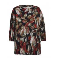 China Comfortable Ladies Oversized Blouses , Pretty Womens Printed Blouses Dark Color for sale