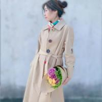 China Sigle-Breasted Trench Coat Women Spring Autumn Long Belted Colorful Button Coat for sale