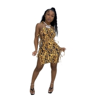 Wholesale Leopard print sleeveless tube slip dress halter side sexy bandage party club dress skirt with suspender from china suppliers