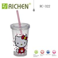Wholesale RC-322 Children's straw tumblers double wall plastic cups 12oz from china suppliers
