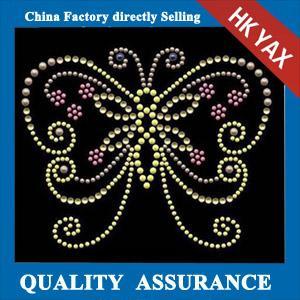 Wholesale D0929 New fashion strass design hotfix motifs, hotfix DMC rhinestone motifs design, butterfly design hotfix motif from china suppliers