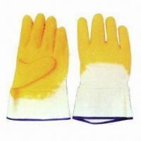 Latex Half-coated Safety Working Gloves with Jersey/Interlock Lining, Safety Cuff and CE Mark for sale