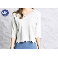 Wholesale Wavy Edge Womens Knit Pullover Sweater Half Sleeves Short Body Summer Knitwear from china suppliers