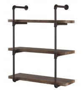 China Industrial Pipe Wall Shelf & Hooks , Metal And Wood Display Shelves Polished on sale