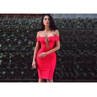 Best Summer Red Lady Sexy Hollow Out A - Line Midi Party Bandage Dress wholesale