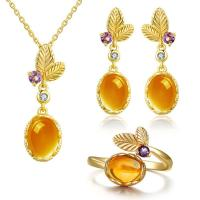 Buy cheap Dangle Earrings Oval Citrine Jewelry Set 925 Sterling Silver Gemstone Pendant from wholesalers