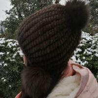 Wholesale Hot selling Natural Mink Fur Knitted hat Fashion Ladies Ladies Winter Hat from china suppliers