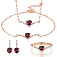 Buy cheap Sterling Silver Natural Garnet Jewelry Set Chain Necklace Bracelet Ring Earrings from wholesalers