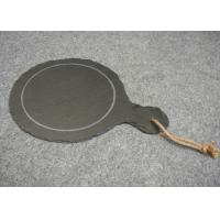 Wholesale Dark Grey Solid Stone Placemats Slate Paddle Black Rough Edge With Rope from china suppliers