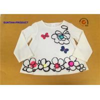 Big Floral Print Children T Shirt Butterfly Applique Embroidery Long Sleeve 100% Cotton for sale